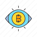 bitcoin, blockchain, cryptocurrency, digital currency, eye scan, security icon