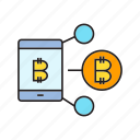 bitcoin, blockchain, cryptocurrency, digital currency, link, share, smart phone icon