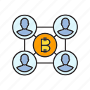 bitcoin, blockchain, cryptocurrency, decentralize, digital currency, network, user icon