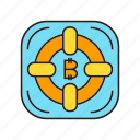 bitcoin, blockchain, cryptocurrency, digital currency, lifebuoy, safe, security icon
