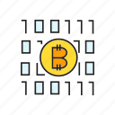 binary, bitcoin, cryptocurrency, decentralize, digital, digital currency, encryption icon