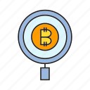 bitcoin, cryptocurrency, digital currency, electronic money, magnifier, scan, view icon