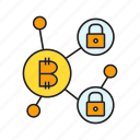 bitcoin, blockchain, cryptocurrency, encryption, link, network, security icon