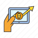 bitcoin, cryptocurrency, digital currency, graph, payment, smart phone, tablet icon