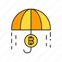 bitcoin, cryptocurrency, digital currency, protection, risk, security, umbrella icon