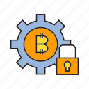 bitcoin, cog, cryptocurrency, encryption, gear, lock, security icon