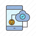 approve, bitcoin, blockchain, digital currency, encryption, network, smart phone icon