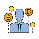 bitcoin, cryptocurrency, dealer, entrepreneur, investor, trader, tycoon icon