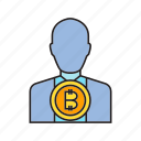 bitcoin, blockchain, cryptocurrency, dealer, digital currency, investor, trader icon