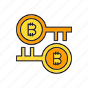 bitcoin, blockchain, cryptocurrency, digital currency, encryption, key, security icon