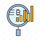 analysis, analytics, bitcoin, cryptocurrency, digital currency, graph, magnifier icon