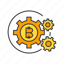 bitcoin, blockchain, cogs, cryptocurrency, digital currency, gear, system icon
