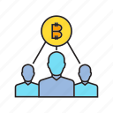 bitcoin, blockchain, crowd, cryptocurrency, decentralize, digital currency, finance icon