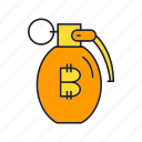 bitcoin, blockchain, bomb, cryptocurrency, digital currency, grenade, risk icon