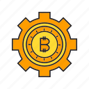 bitcoin, blockchain, cog, cryptocurrency, digital currency, electronic money, gear icon