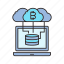 bitcoin, cloud computing, cryptocurrency, hosting, laptop, network, server icon