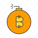 bitcoin, bomb, cryptocurrency, digital currency, electronic money, money, risk icon
