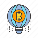 balloon, bitcoin, bubble, cryptocurrency, digital currency, float, risk icon
