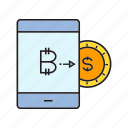 bitcoin, cryptocurrency, digital currency, money exchange, smart phone, swap, transaction