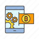 bitcoin, cryptocurrency, digital currency, mobile payment, smart phone, transaction icon