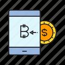 bitcoin, cryptocurrency, digital currency, input, money exchange, saving, smart phone