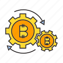 bitcoin, cogs, cryptocurrency, digital currency, gear, rotate, system icon