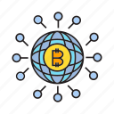 bitcoin, global, globe, link, network, share, world icon