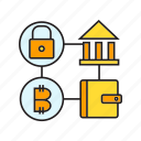 bitcoin, blockchain, cryptocurrency, digital banking, link, network, wallet icon