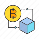 bitcoin, blockchain, box, cryptocurrency, cube, digital currency, electronic money icon