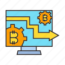 bitcoin, blockchain, compute, cryptocurrency, digital currency, finance, operation system icon