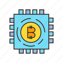 bitcoin, chip, cryptocurrency, device, digital currency, microchip, processor icon