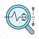 analytics, bitcoin, cryptocurrency, data, digital currency, magnifier, plot icon