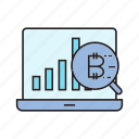 analytics, bitcoin, cryptocurrency, graph, laptop, magnifier, scan icon