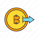 bitcoin, blockchain, coin, cryptocurrency, digital currency, output icon