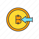 bitcoin, blockchain, coin, cryptocurrency, digital currency, input, transaction icon