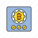 approve, bitcoin, blockchain, check, cryptocurrency, digital currency, security icon