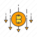 bitcoin, cryptocurrency, decrease, digital currency, drop, fall, price icon