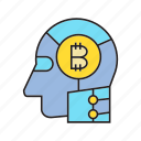 artificial intelligence, bitcoin, blockchain, cryptocurrency, digital currency, head, robot icon