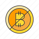 ban, bitcoin, blockchain, cryptocurrency, digital currency, no, transaction icon