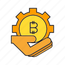 bitcoin, cog, cryptocurrency, digital currency, gear, hand, hold icon