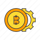 bitcoin, blockchain, cog, coin, cryptocurrency, digital currency, gear icon