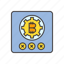 bitcoin, cog, cryptocurrency, digital currency, lock, password, security icon