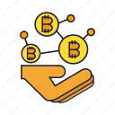 bitcoin, blockchain, cryptocurrency, decentralize, digital currency, hand, transaction icon