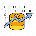 binary, bitcoin, blockchain, chart, cryptocurrency, digital currency, electronic money icon