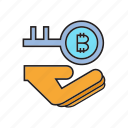 bitcoin, cryptocurrency, digital currency, encryption, hand, key, security icon