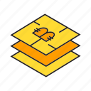 bitcoin, blockchain, chip, cryptocurrency, digital currency, layers, sensor icon