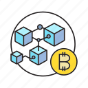 bitcoin, blockchain, cryptocurrency, cube, digital currency, electronic money, transaction icon