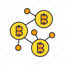 bitcoin, blockchain, cryptocurrency, digital currency, electronic money, link, network icon