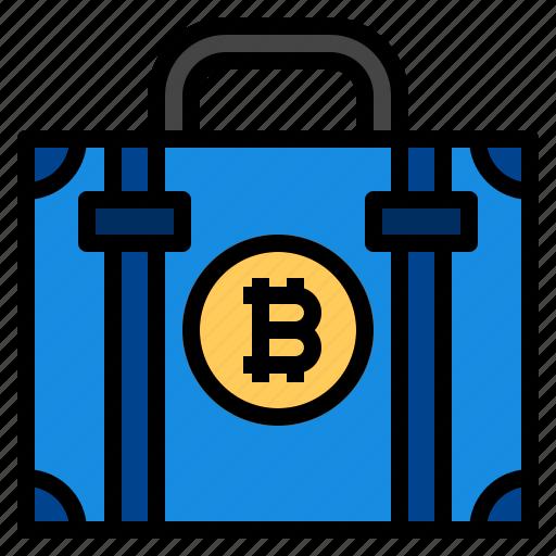 bag, bitcoin, briefcase icon
