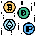 bitcoin, cryptocurrency, digital icon